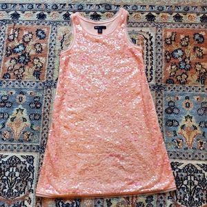 GAP Kids peach sequin tank dress size M 8